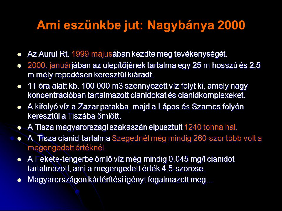 Ami eszünkbe jut: Nagybánya 2000  Az Aurul Rt. 1999 májusában kezdte meg tevékenységét.  2000. januárjában az ülepítőjének tartalma egy 25 m hosszú