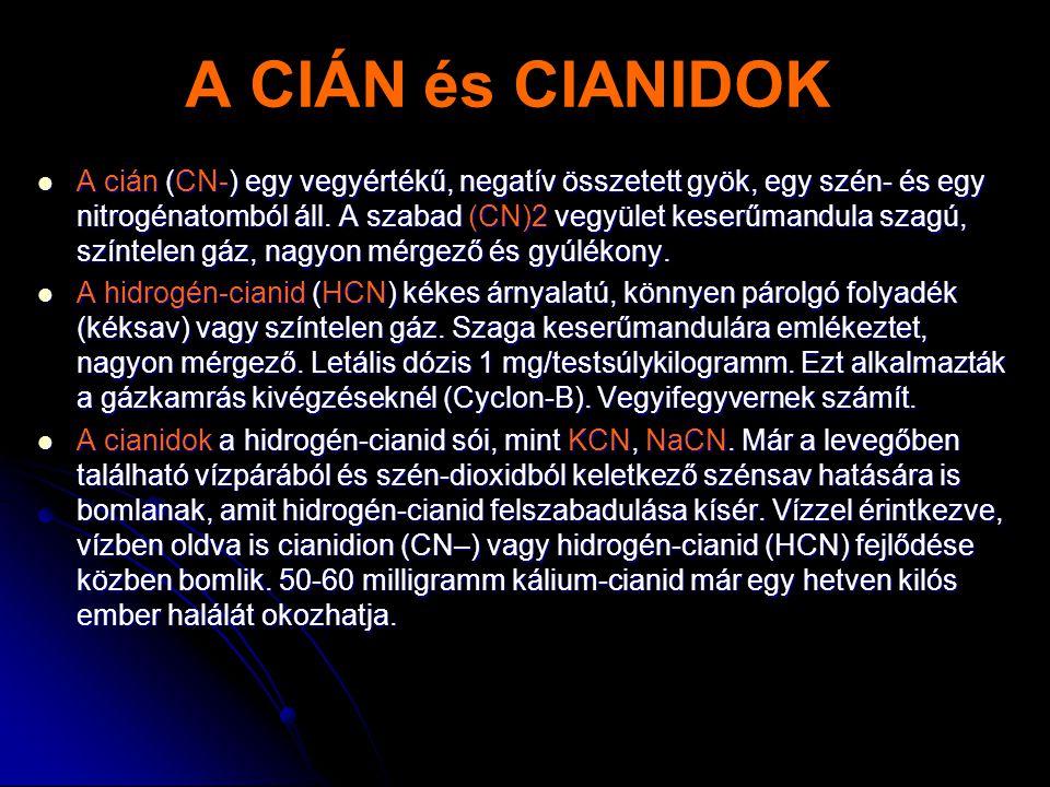 A CIÁN és CIANIDOK  A cián (CN-) egy vegyértékű, negatív összetett gyök, egy szén- és egy nitrogénatomból áll. A szabad (CN)2 vegyület keserűmandula