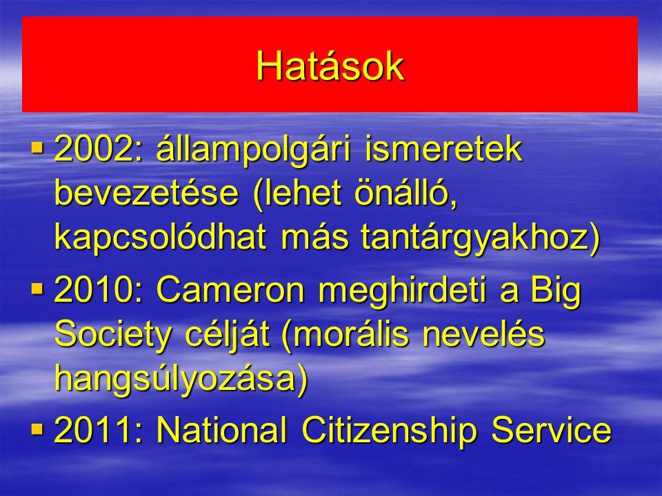 Hatások  2002: állampolgári ismeretek bevezetése (lehet önálló, kapcsolódhat más tantárgyakhoz)  2010: Cameron meghirdeti a Big Society célját (morális nevelés hangsúlyozása)  2011: National Citizenship Service