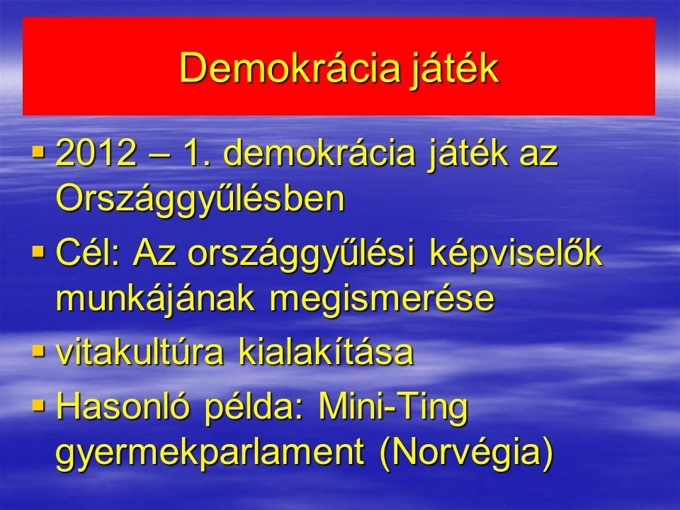 Demokrácia játék  2012 – 1. demokrácia játék az Országgyűlésben  Cél: Az országgyűlési képviselők munkájának megismerése  vitakultúra kialakítása 