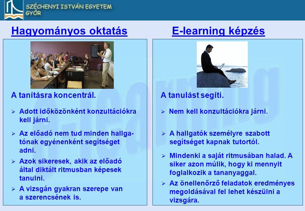 Hagyományos oktatásE-learning képzés A tanításra koncentrál.A tanulást segíti.  Adott időközönként konzultációkra kell járni.  Azok sikeresek, akik