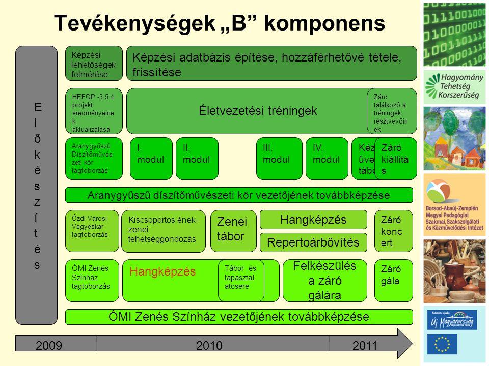 """Tevékenységek """"B komponens Képzési lehetőségek felmérése Képzési adatbázis építése, hozzáférhetővé tétele, frissítése HEFOP -3.5.4 projekt eredményeine k aktualizálása Életvezetési tréningek Záró találkozó a tréningek résztvevőin ek Aranygyűszű Díszítőművés zeti kör tagtoborzás I."""