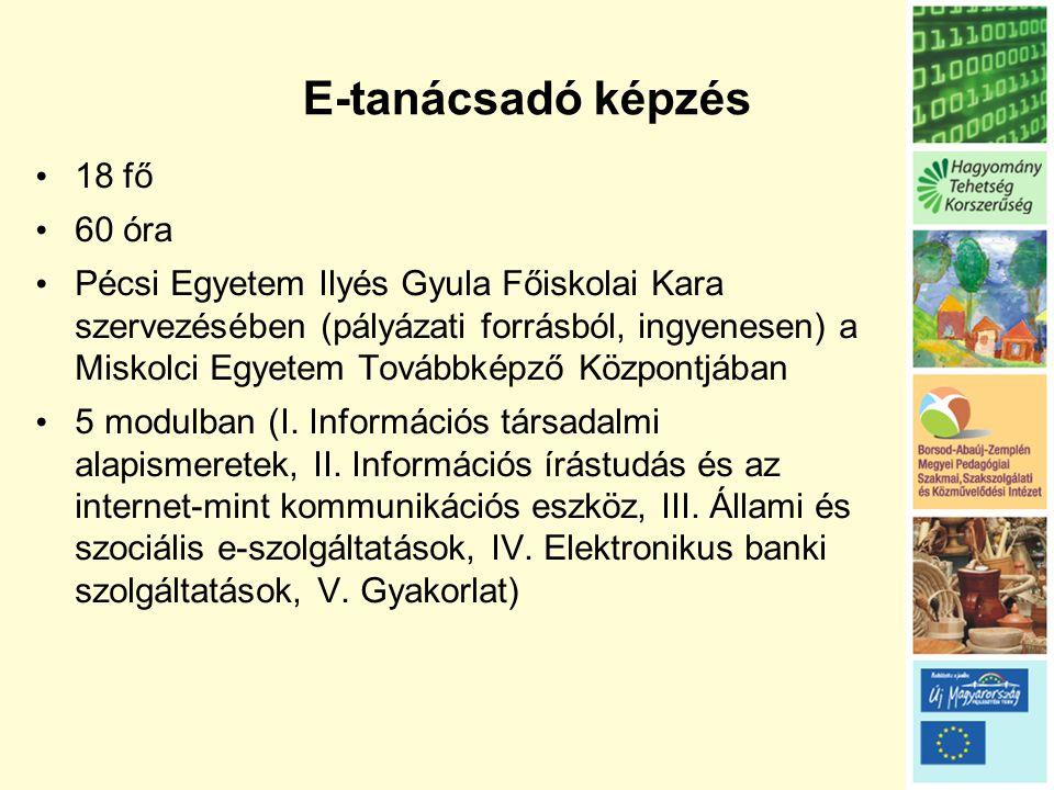 E-tanácsadó képzés • 18 fő • 60 óra • Pécsi Egyetem Ilyés Gyula Főiskolai Kara szervezésében (pályázati forrásból, ingyenesen) a Miskolci Egyetem Továbbképző Központjában • 5 modulban (I.