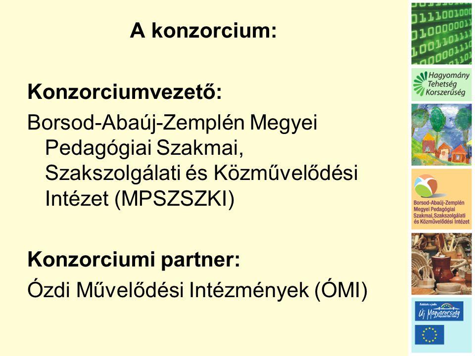 A konzorcium: Konzorciumvezető: Borsod-Abaúj-Zemplén Megyei Pedagógiai Szakmai, Szakszolgálati és Közművelődési Intézet (MPSZSZKI) Konzorciumi partner: Ózdi Művelődési Intézmények (ÓMI)