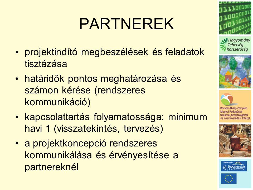 PARTNEREK • projektindító megbeszélések és feladatok tisztázása • határidők pontos meghatározása és számon kérése (rendszeres kommunikáció) • kapcsolattartás folyamatossága: minimum havi 1 (visszatekintés, tervezés) • a projektkoncepció rendszeres kommunikálása és érvényesítése a partnereknél