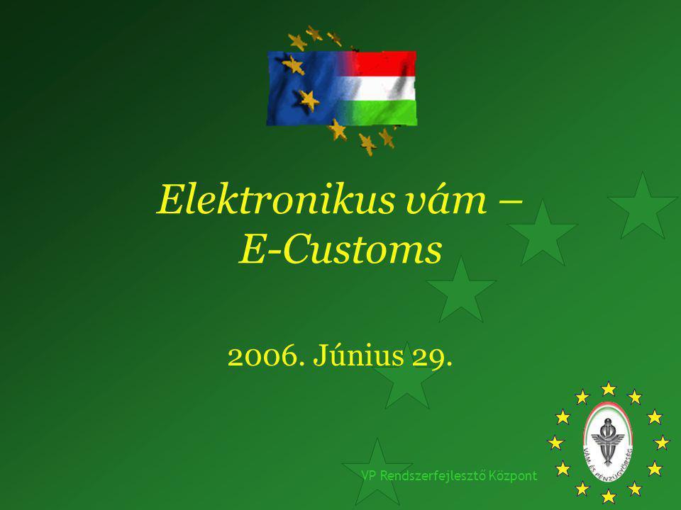 VP Rendszerfejlesztő Központ Elektronikus vám – E-Customs 2006. Június 29.