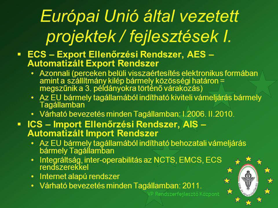 VP Rendszerfejlesztő Központ Európai Unió által vezetett projektek / fejlesztések I.  ECS – Export Ellenőrzési Rendszer, AES – Automatizált Export Re