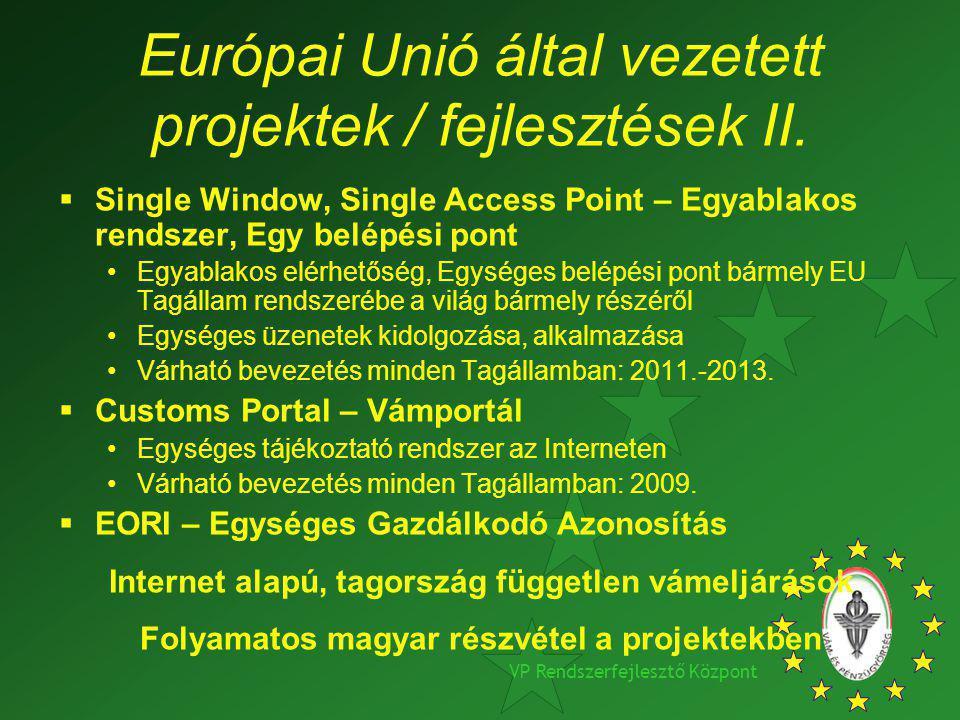 VP Rendszerfejlesztő Központ Európai Unió által vezetett projektek / fejlesztések II.  Single Window, Single Access Point – Egyablakos rendszer, Egy