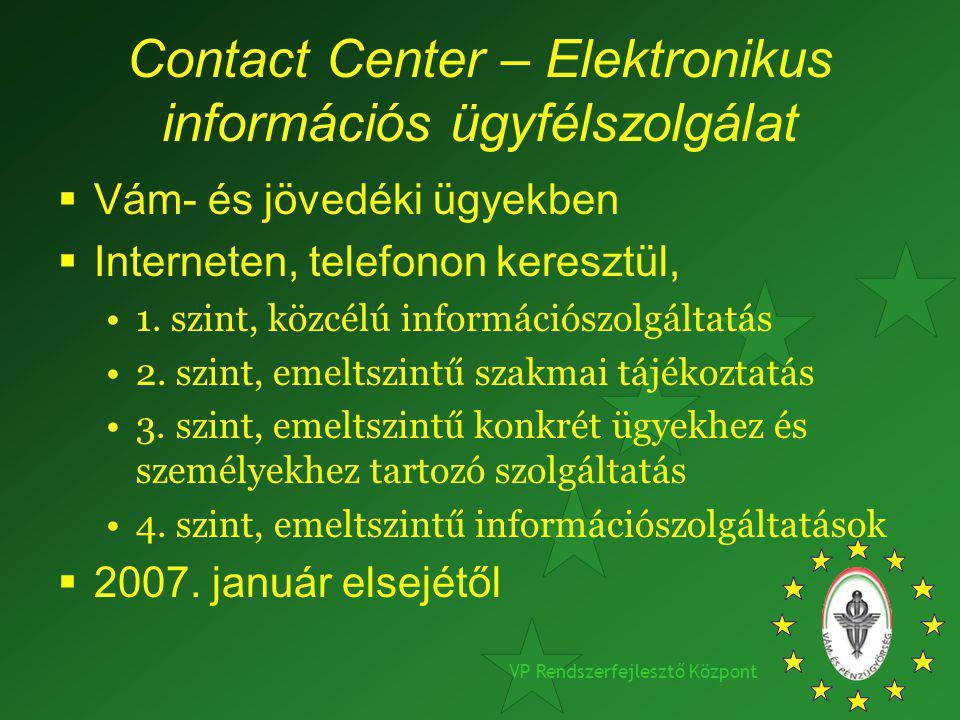 VP Rendszerfejlesztő Központ Contact Center – Elektronikus információs ügyfélszolgálat  Vám- és jövedéki ügyekben  Interneten, telefonon keresztül,