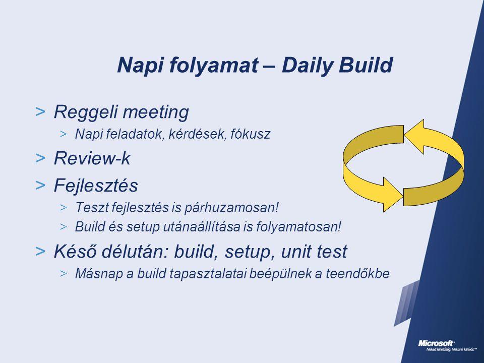 Napi folyamat – Daily Build  Reggeli meeting  Napi feladatok, kérdések, fókusz  Review-k  Fejlesztés  Teszt fejlesztés is párhuzamosan!  Build é