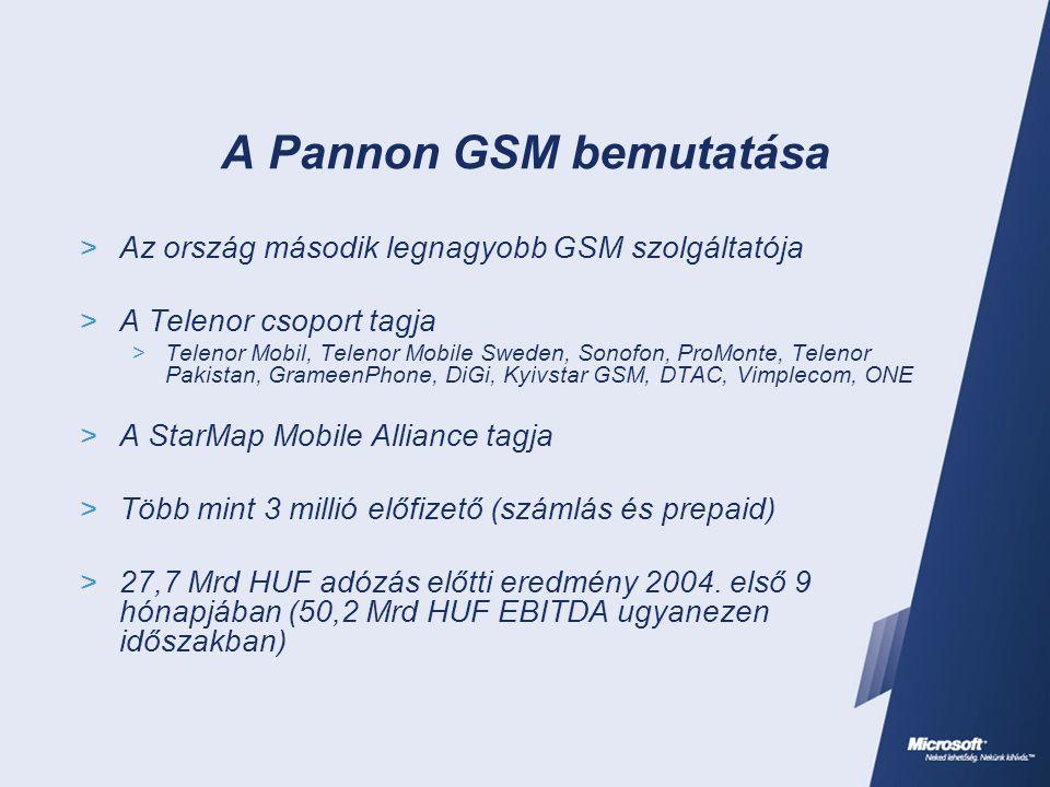 A Pannon GSM és a Microsoft kapcsolata  1996 – a kezdetek: Infrastruktúra (F+P, üzenetkezelés, desktop OS és Office)  1997 – az első ügyfél frontend alkalmazások (SOL 1.0) elkészülte (Cleware Kft.)  1999 – az SAP bevezetése MS SQL alapon  1999 óta Premier terméktámogatás  1998 – 2000 – egyre több frontend funkcionalitás (Pannon Online, Webshop) Microsoft platformon (Cleware, Grepton és mások)  2001-2002 – Integrated Customer Access (ICA)  2003 – Nagyvállalati ügyfelek önkiszolgáló szolgáltatás manipulációja a web-en keresztül (Key Account Microsite)  2003 – Prepaid ügyfelek kupon feltöltése ATM-en keresztül (StexMachine)  2004 – Mobil számhordozás (PANdORA)  2004 – Üzleti entitások adatainak konzisztens kezelése (TMF Customer BES)