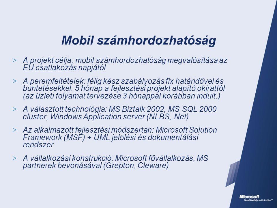 Mobil számhordozhatóság  A projekt célja: mobil számhordozhatóság megvalósítása az EU csatlakozás napjától  A peremfeltételek: félig kész szabályozá