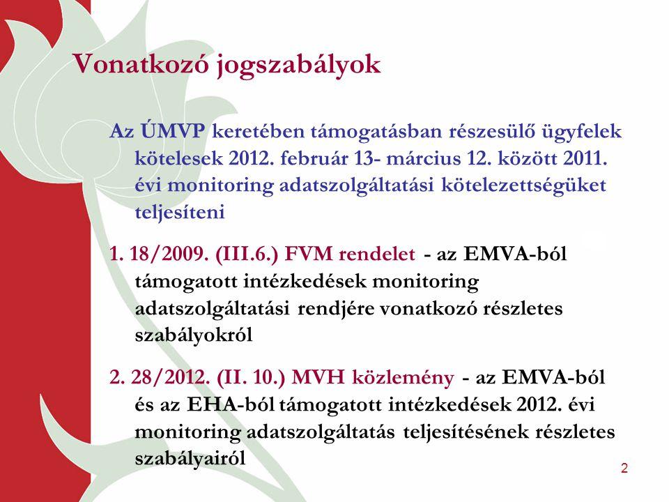2 Vonatkozó jogszabályok Az ÚMVP keretében támogatásban részesülő ügyfelek kötelesek 2012. február 13- március 12. között 2011. évi monitoring adatszo