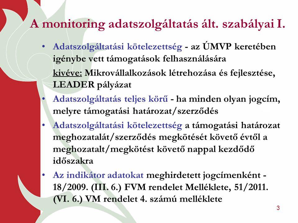 3 A monitoring adatszolgáltatás ált. szabályai I. •Adatszolgáltatási kötelezettség - az ÚMVP keretében igénybe vett támogatások felhasználására kivéve