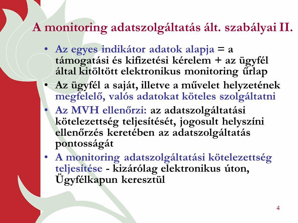 4 A monitoring adatszolgáltatás ált. szabályai II.