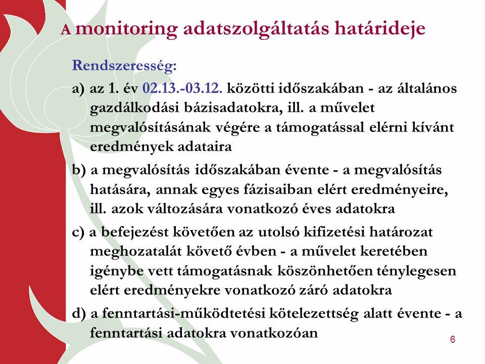6 A monitoring adatszolgáltatás határideje Rendszeresség: a) az 1. év 02.13.-03.12. közötti időszakában - az általános gazdálkodási bázisadatokra, ill