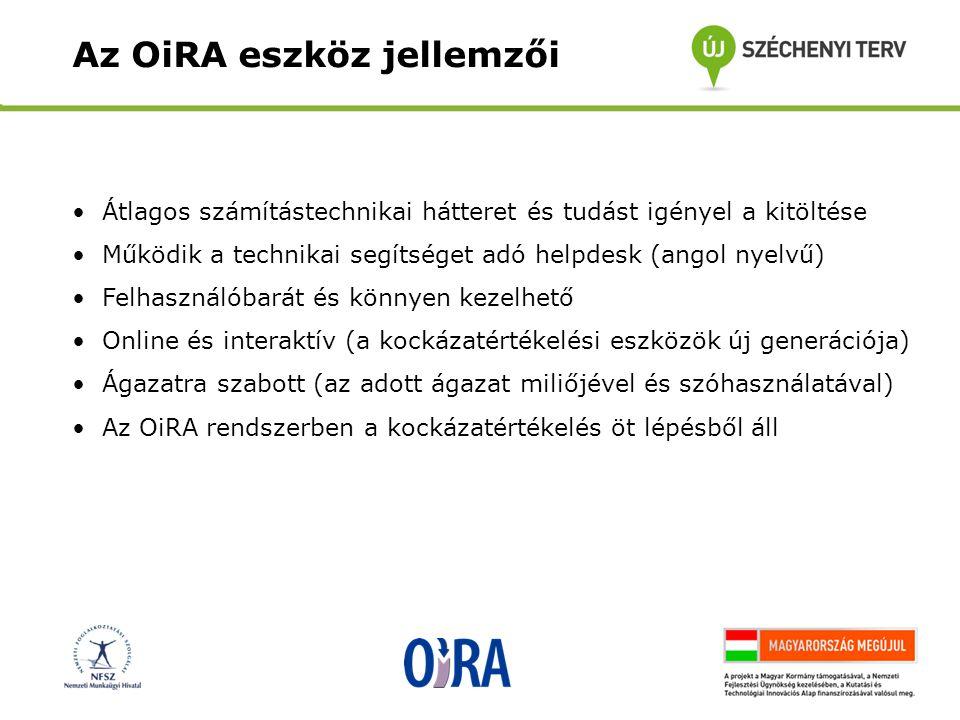 •Átlagos számítástechnikai hátteret és tudást igényel a kitöltése •Működik a technikai segítséget adó helpdesk (angol nyelvű) •Felhasználóbarát és könnyen kezelhető •Online és interaktív (a kockázatértékelési eszközök új generációja) •Ágazatra szabott (az adott ágazat miliőjével és szóhasználatával) •Az OiRA rendszerben a kockázatértékelés öt lépésből áll Az OiRA eszköz jellemzői