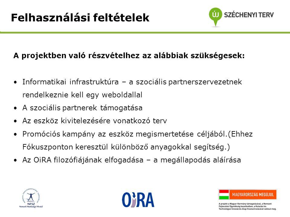 Információk, dokumentációk és kísérőanyagok: Az OiRA weboldala (www.oiraproject.eu)www.oiraproject.eu Felhasználói kézikönyv az OiRA eszközgenerátorához (fejlesztőknek) Egyéb útmutatók és kézikönyvek, például gyakran ismételt kérdések elérhetők: http://www.oiraproject.eu/support/ http://www.oiraproject.eu/support/ Különböző prezentációk OiRA FAQ és tájékoztató Promóciós útmutató (fejlesztés alatt) Finanszírozási útmutató (elérhető: http://www.oiraproject.eu/documentation/materials- about-the-project/guide-on-eu-funding-for-oira)http://www.oiraproject.eu/documentation/materials- about-the-project/guide-on-eu-funding-for-oira Rövid útmutató arról, hogy hogyan hozzunk létre online interaktív kockázatértékelési eszközt Rövid dokumentum (4 oldal), amely nagy vonalakban ad általános áttekintést arról, hogy hogyan hozzunk létre online interaktív kockázatértékelési eszközt (magyarul már elérhető!)