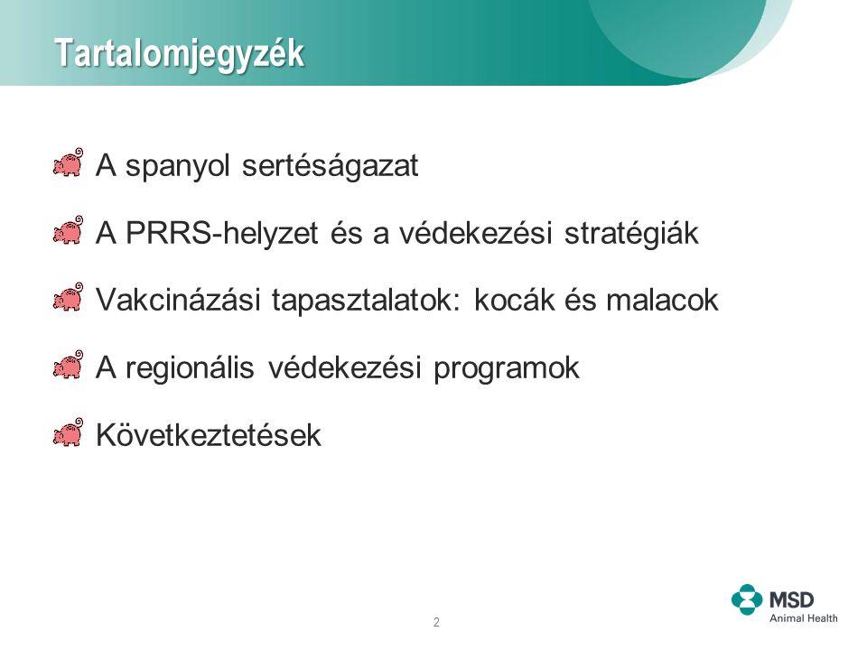 2 Tartalomjegyzék A spanyol sertéságazat A PRRS-helyzet és a védekezési stratégiák Vakcinázási tapasztalatok: kocák és malacok A regionális védekezési programok Következtetések