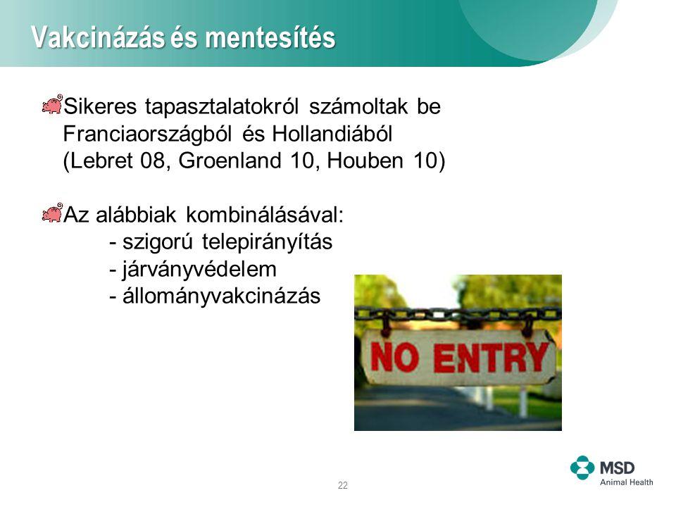 22 Vakcinázás és mentesítés Sikeres tapasztalatokról számoltak be Franciaországból és Hollandiából (Lebret 08, Groenland 10, Houben 10) Az alábbiak kombinálásával: - szigorú telepirányítás - járványvédelem - állományvakcinázás