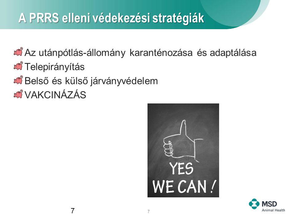 7 A PRRS elleni védekezési stratégiák 7 Az utánpótlás-állomány karanténozása és adaptálása Telepirányítás Belső és külső járványvédelem VAKCINÁZÁS