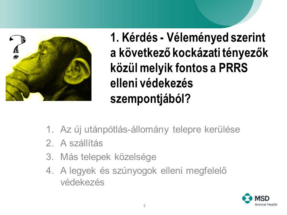 9 1. Kérdés - Véleményed szerint a következő kockázati tényezők közül melyik fontos a PRRS elleni védekezés szempontjából? 1.Az új utánpótlás-állomány