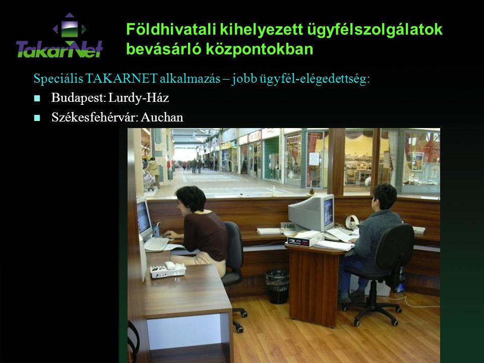 Földhivatali kihelyezett ügyfélszolgálatok bevásárló központokban Speciális TAKARNET alkalmazás – jobb ügyfél-elégedettség: n Budapest: Lurdy-Ház n Sz