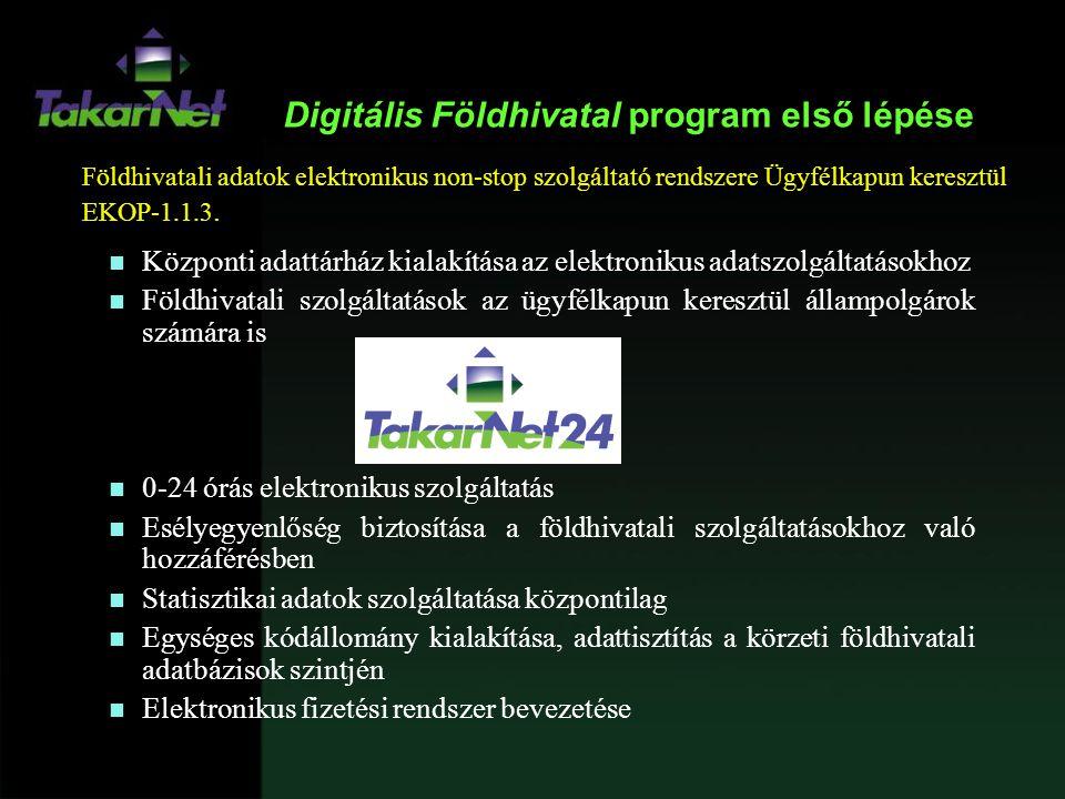 Digitális Földhivatal program első lépése n Központi adattárház kialakítása az elektronikus adatszolgáltatásokhoz n Földhivatali szolgáltatások az ügy