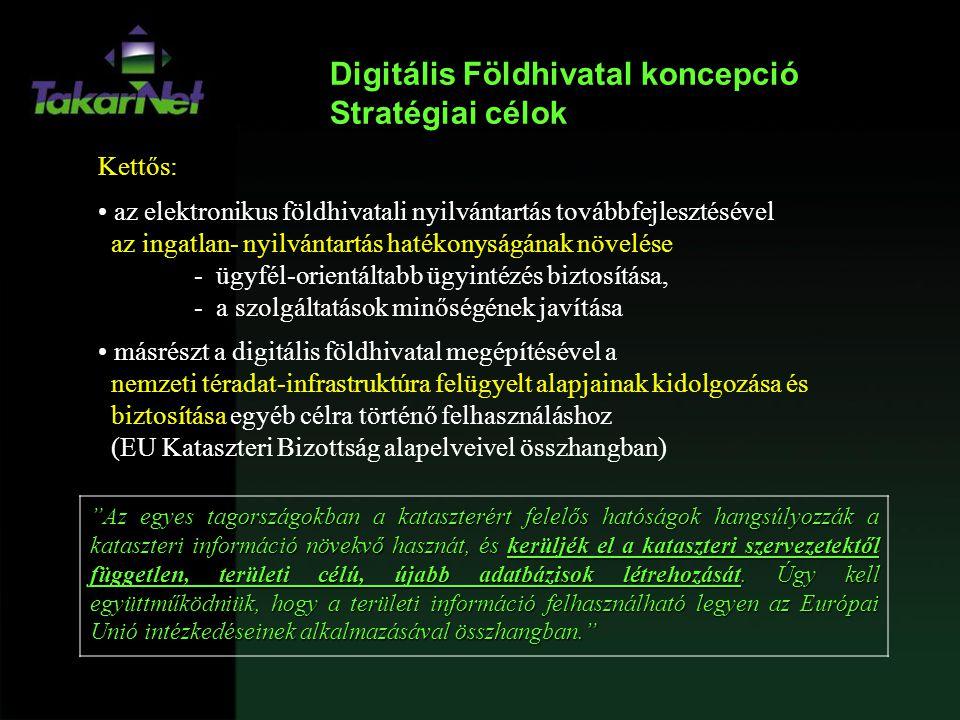 Digitális Földhivatal terv fő elemei Földhivatali ügyvitel teljes folyamatának korszerűsítése  e-szolgáltatás, e-ügyintézés  Technikai megközelítés Jogi szabályozás!!.