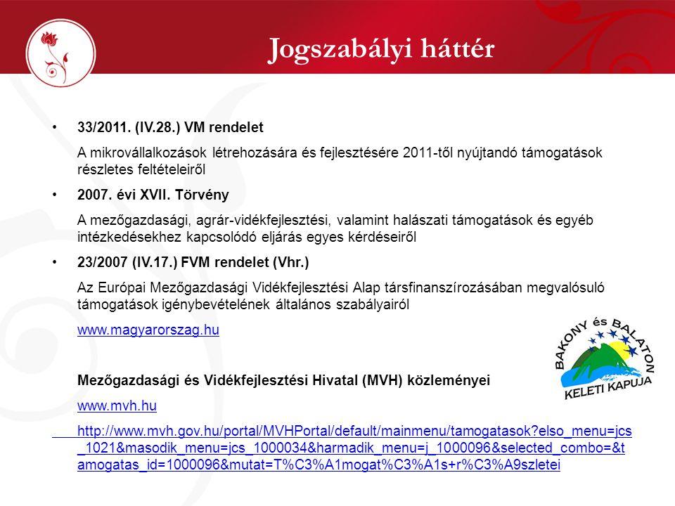 Jogszabályi háttér •33/2011. (IV.28.) VM rendelet A mikrovállalkozások létrehozására és fejlesztésére 2011-től nyújtandó támogatások részletes feltéte