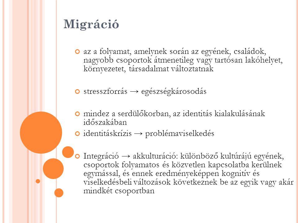 A vizsgálat célkitűzése Szegeden tanuló külföldi középiskolások kulturális, érzelmi tapasztalatain keresztül a migráció miatt bekövetkezett változások illetve az integráció hatásait, különös tekintettel az egészség, egészségmagatartás vonatkozásában Protektív- és rizikótényezők feltárása Az eredmények alapján iskolán keresztül megvalósítható célzott, speciális egészségfejlesztő projektek kidolgozása és végrehajtása
