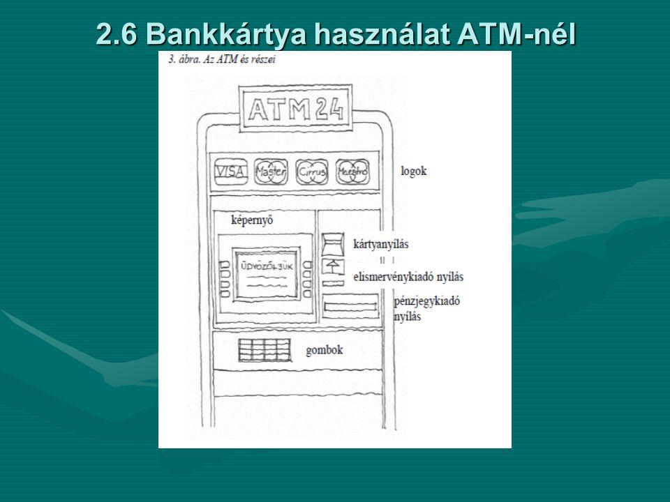 2.6 Bankkártya használat ATM-nél