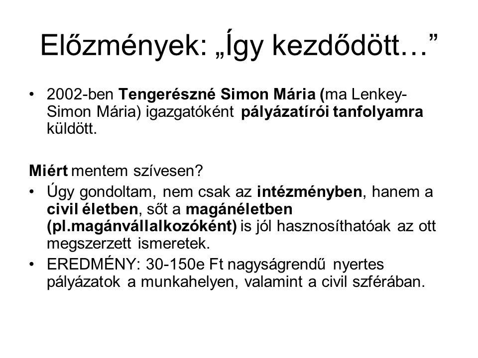 """Előzmények: """"Így kezdődött…"""" •2002-ben Tengerészné Simon Mária (ma Lenkey- Simon Mária) igazgatóként pályázatírói tanfolyamra küldött. Miért mentem sz"""