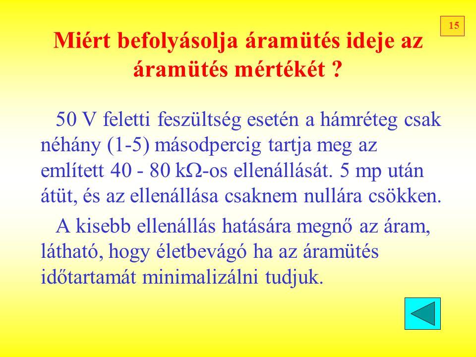 15 Miért befolyásolja áramütés ideje az áramütés mértékét ? 50 V feletti feszültség esetén a hámréteg csak néhány (1-5) másodpercig tartja meg az emlí