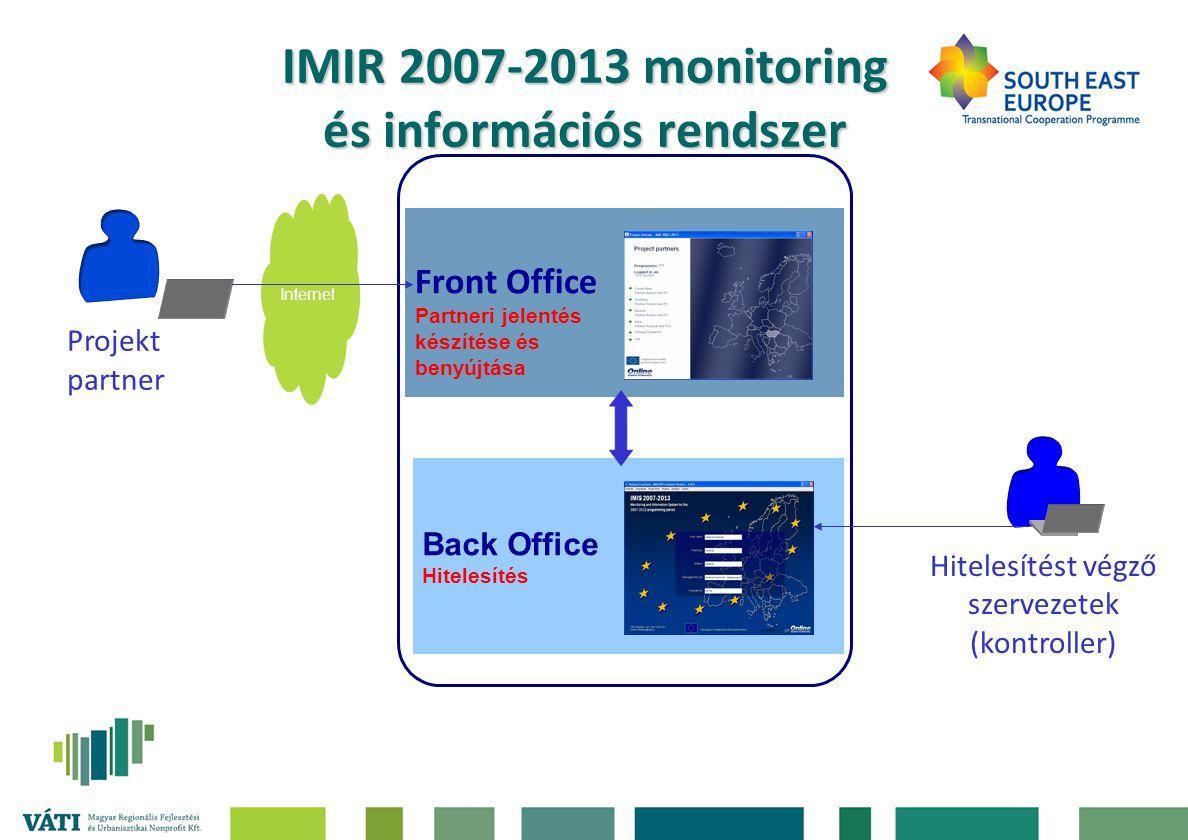 IMIR 2007-2013 monitoring és információs rendszer •Partneri jelentések készítésének és benyújtásának módja (partner): –elektronikusan: IMIR 2007-2013 Front Office felületén keresztül, és –papír alapon: IMIR 2007-2013 Front Office felületén generált riportokkal.
