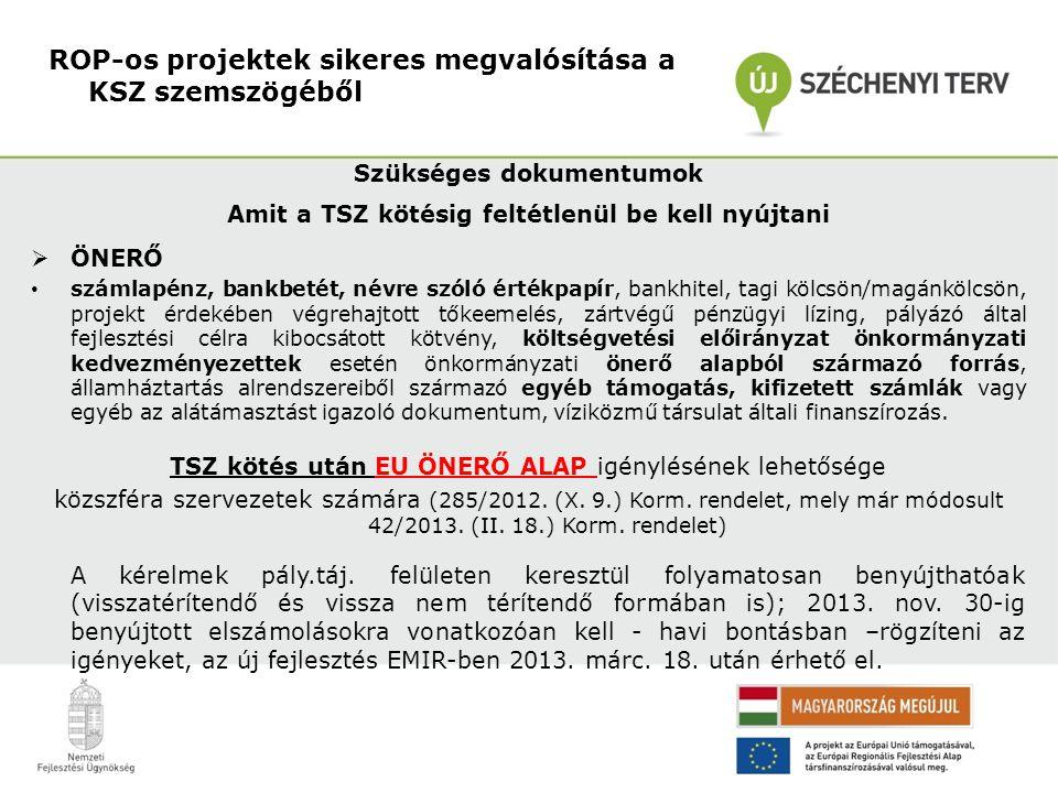 Szükséges dokumentumok Amit a TSZ kötésig feltétlenül be kell nyújtani  ÖNERŐ • számlapénz, bankbetét, névre szóló értékpapír, bankhitel, tagi kölcsö