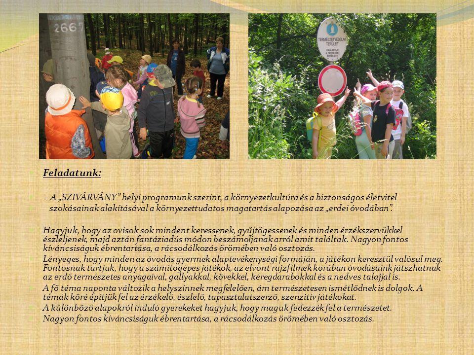 """ Feladatunk:  - A """"SZIVÁRVÁNY"""" helyi programunk szerint, a környezetkultúra és a biztonságos életvitel  szokásainak alakításával a környezettudatos"""