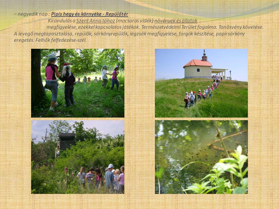 – negyedik nap : Pipis hegy és környéke - Repülőtér Kirándulás a Szent Anna tóhoz (mocsaras vidék) növények és állatok megfigyelése, ezekkel kapcsolat