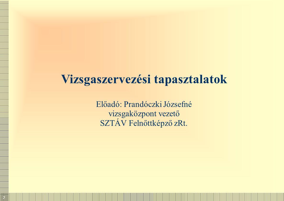 2 Vizsgaszervezési tapasztalatok Előadó: Prandóczki Józsefné vizsgaközpont vezető SZTÁV Felnőttképző zRt.