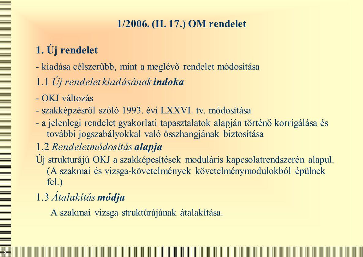 3 1/2006. (II. 17.) OM rendelet 1. Új rendelet - kiadása célszerűbb, mint a meglévő rendelet módosítása 1.1 Új rendelet kiadásának indoka - OKJ változ