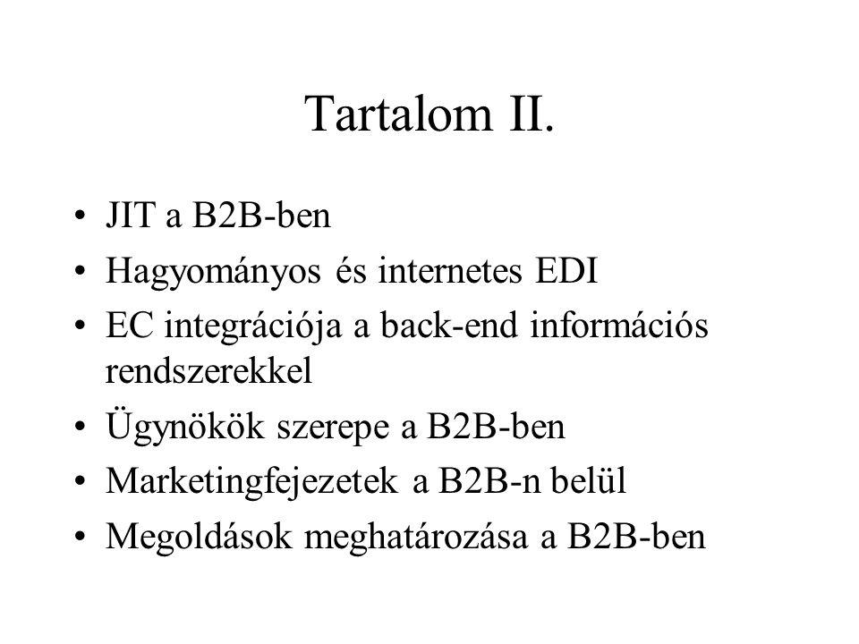 Tartalom II. •JIT a B2B-ben •Hagyományos és internetes EDI •EC integrációja a back-end információs rendszerekkel •Ügynökök szerepe a B2B-ben •Marketin