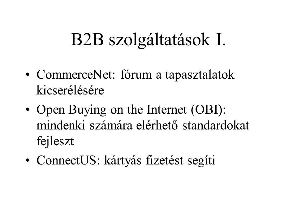 B2B szolgáltatások I. •CommerceNet: fórum a tapasztalatok kicserélésére •Open Buying on the Internet (OBI): mindenki számára elérhető standardokat fej