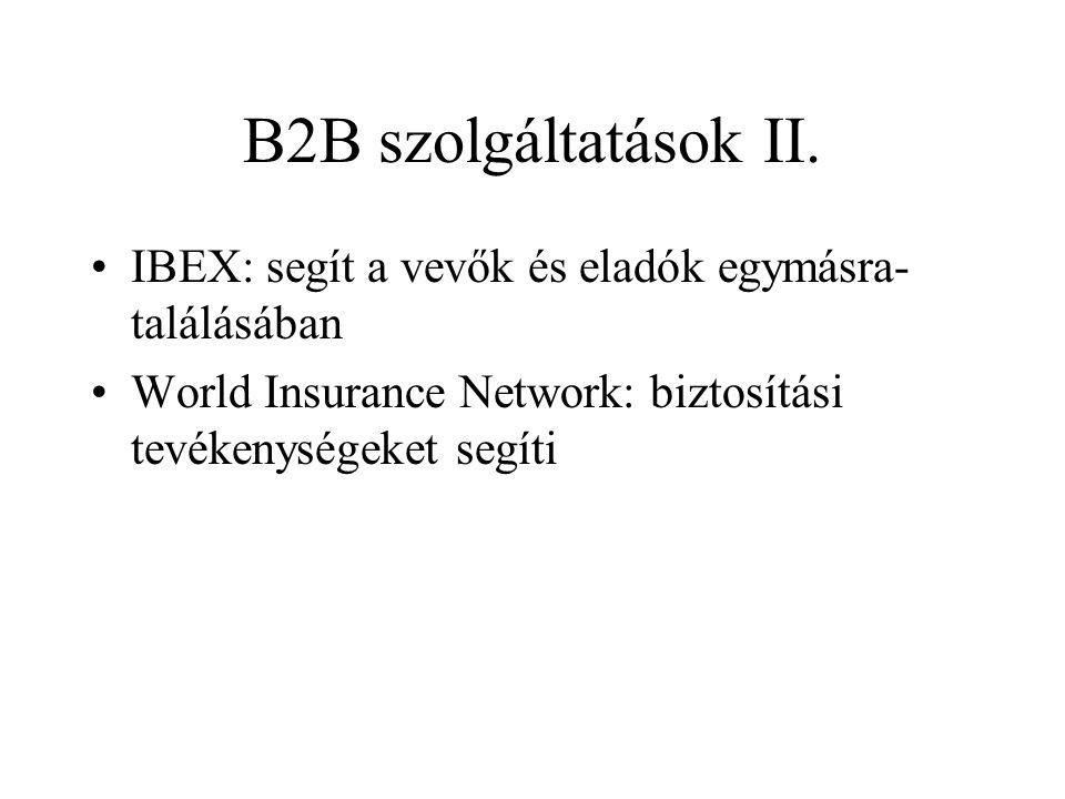 B2B szolgáltatások II. •IBEX: segít a vevők és eladók egymásra- találásában •World Insurance Network: biztosítási tevékenységeket segíti