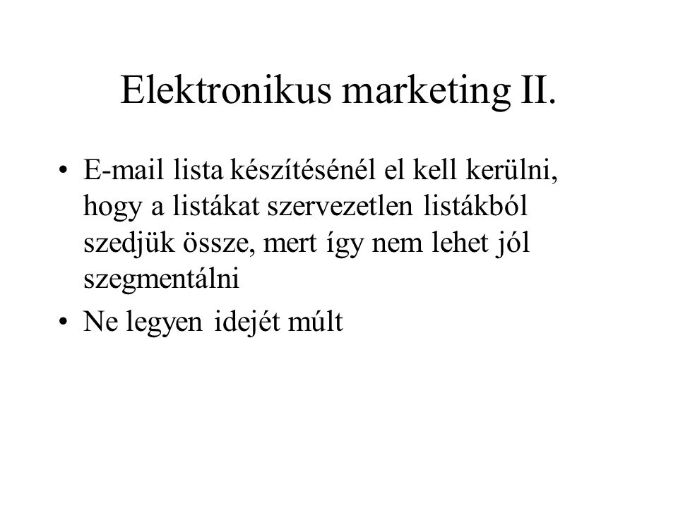 Elektronikus marketing II.