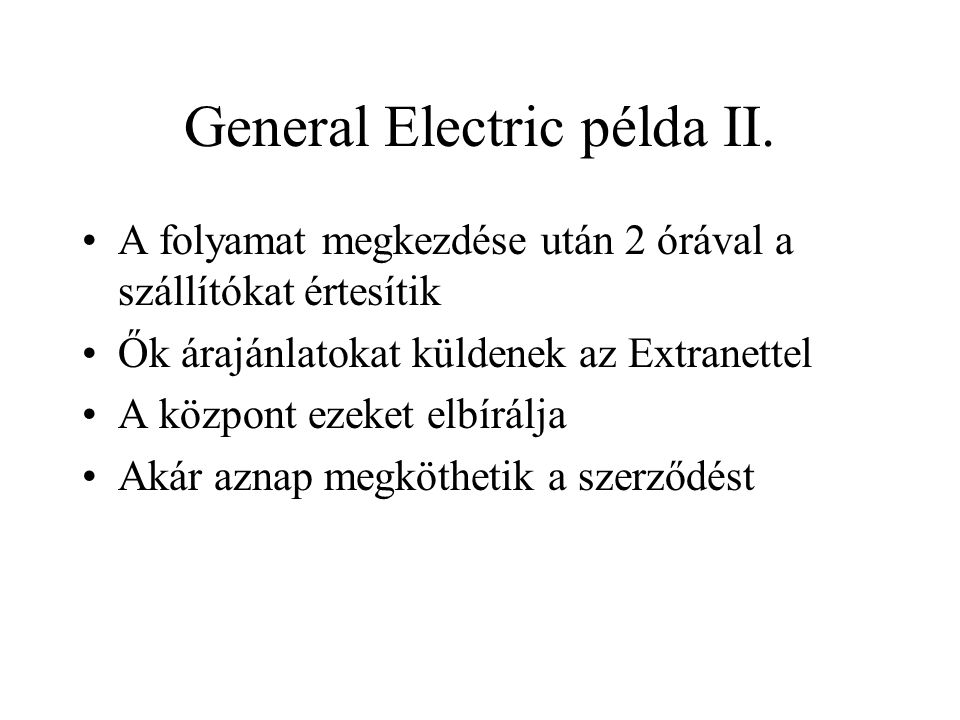 General Electric példa III.