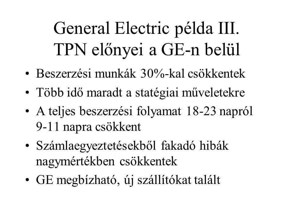 General Electric példa III.