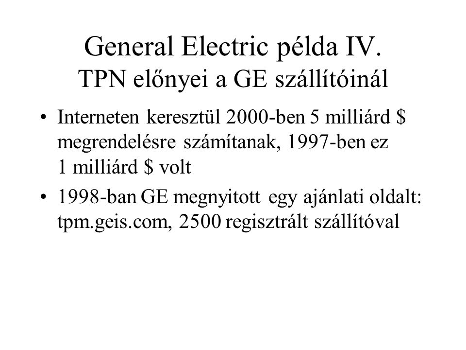 General Electric példa IV.