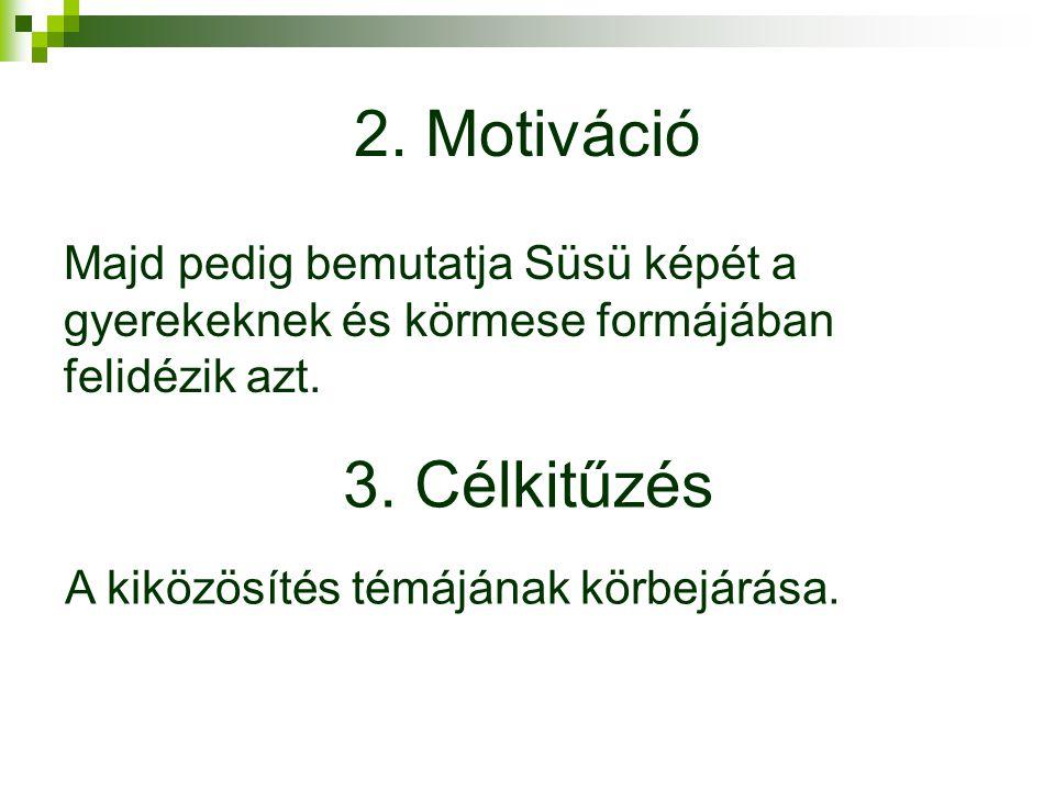 2.Motiváció Majd pedig bemutatja Süsü képét a gyerekeknek és körmese formájában felidézik azt.