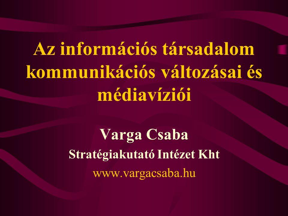 Az információs társadalom kommunikációs változásai és médiavíziói Varga Csaba Stratégiakutató Intézet Kht www.vargacsaba.hu