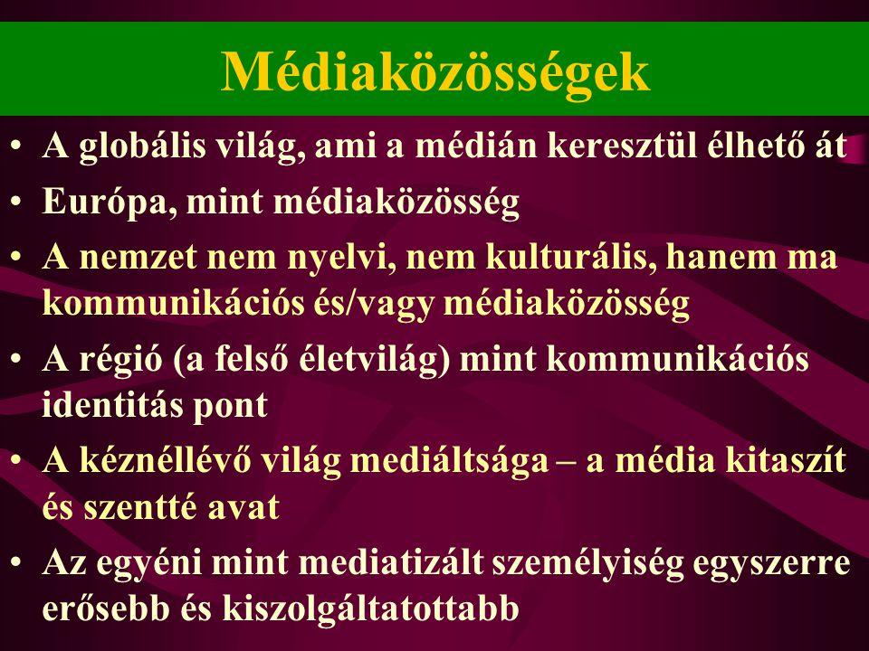 Médiaközösségek •A globális világ, ami a médián keresztül élhető át •Európa, mint médiaközösség •A nemzet nem nyelvi, nem kulturális, hanem ma kommunikációs és/vagy médiaközösség •A régió (a felső életvilág) mint kommunikációs identitás pont •A kéznéllévő világ mediáltsága – a média kitaszít és szentté avat •Az egyéni mint mediatizált személyiség egyszerre erősebb és kiszolgáltatottabb